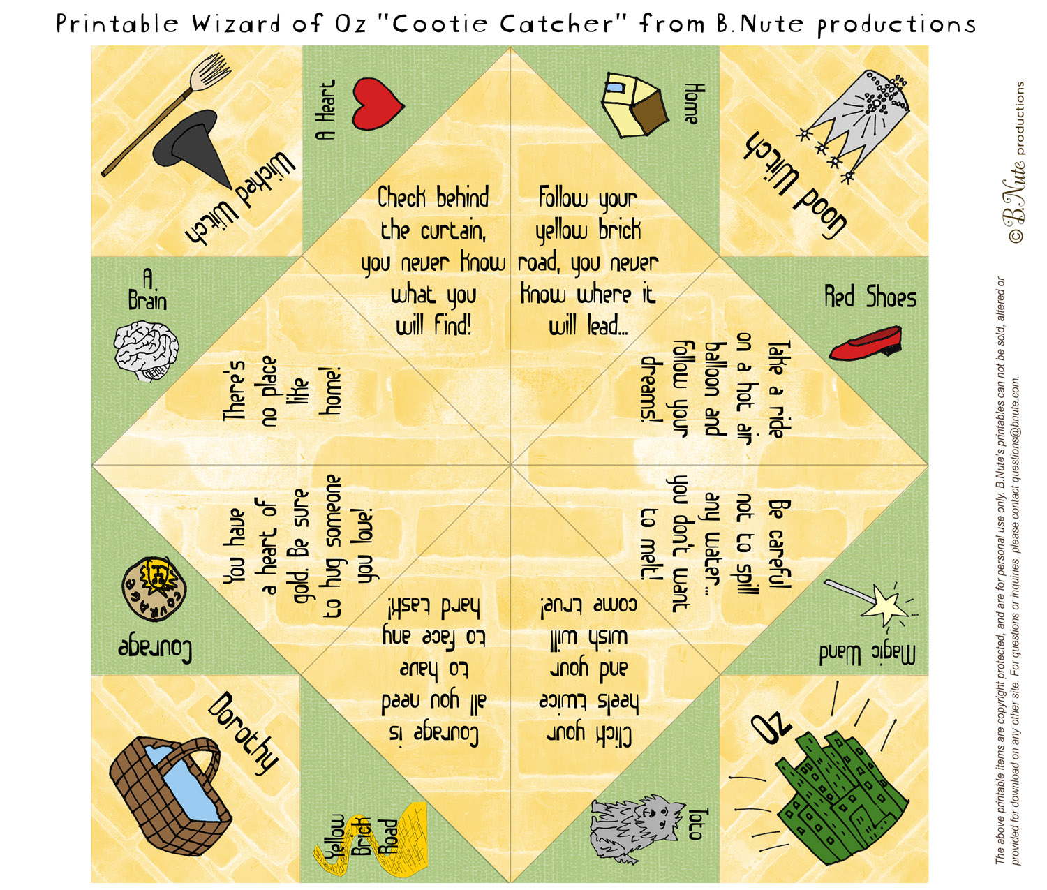Free Printable Wizard of Oz Cootie Catcher/Fortune Teller by B.Nute  title=