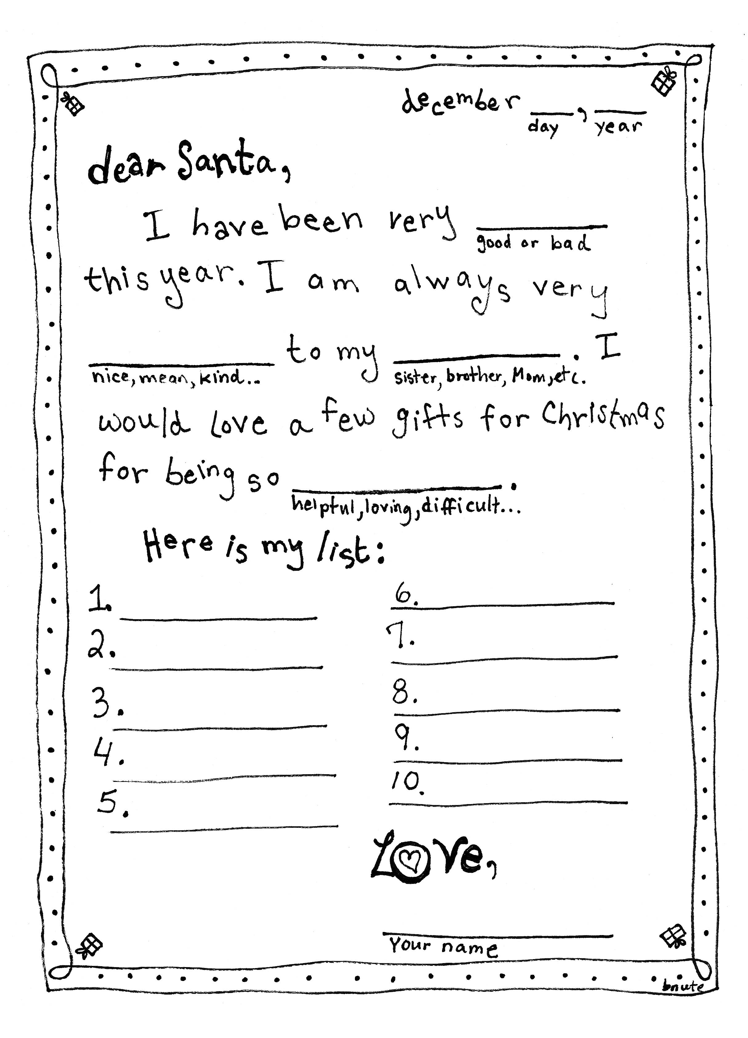 bnute productions: Letter to Santa - Mad Libs style