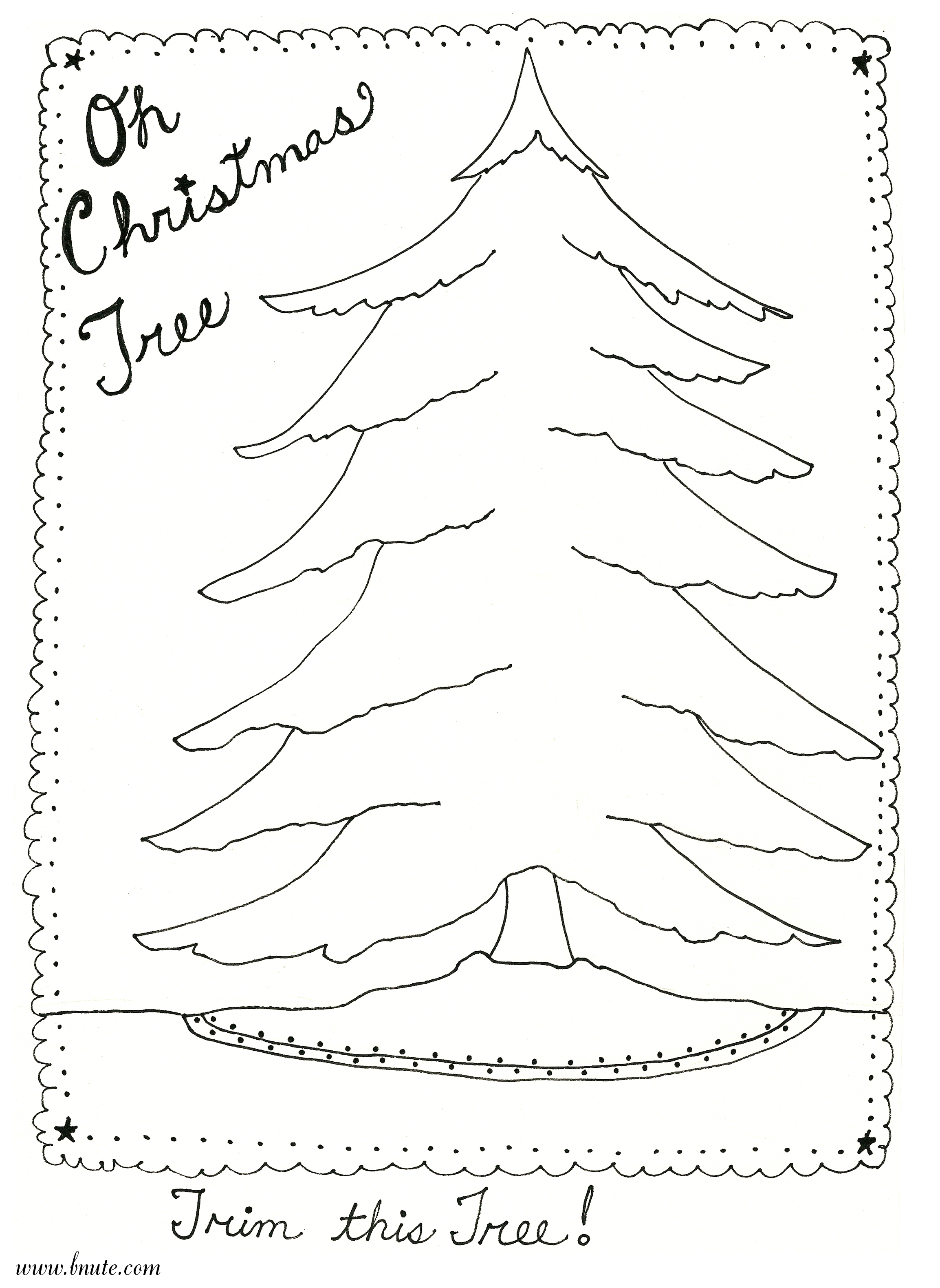 bnute productions Oh Christmas Tree  Printable Art Activity
