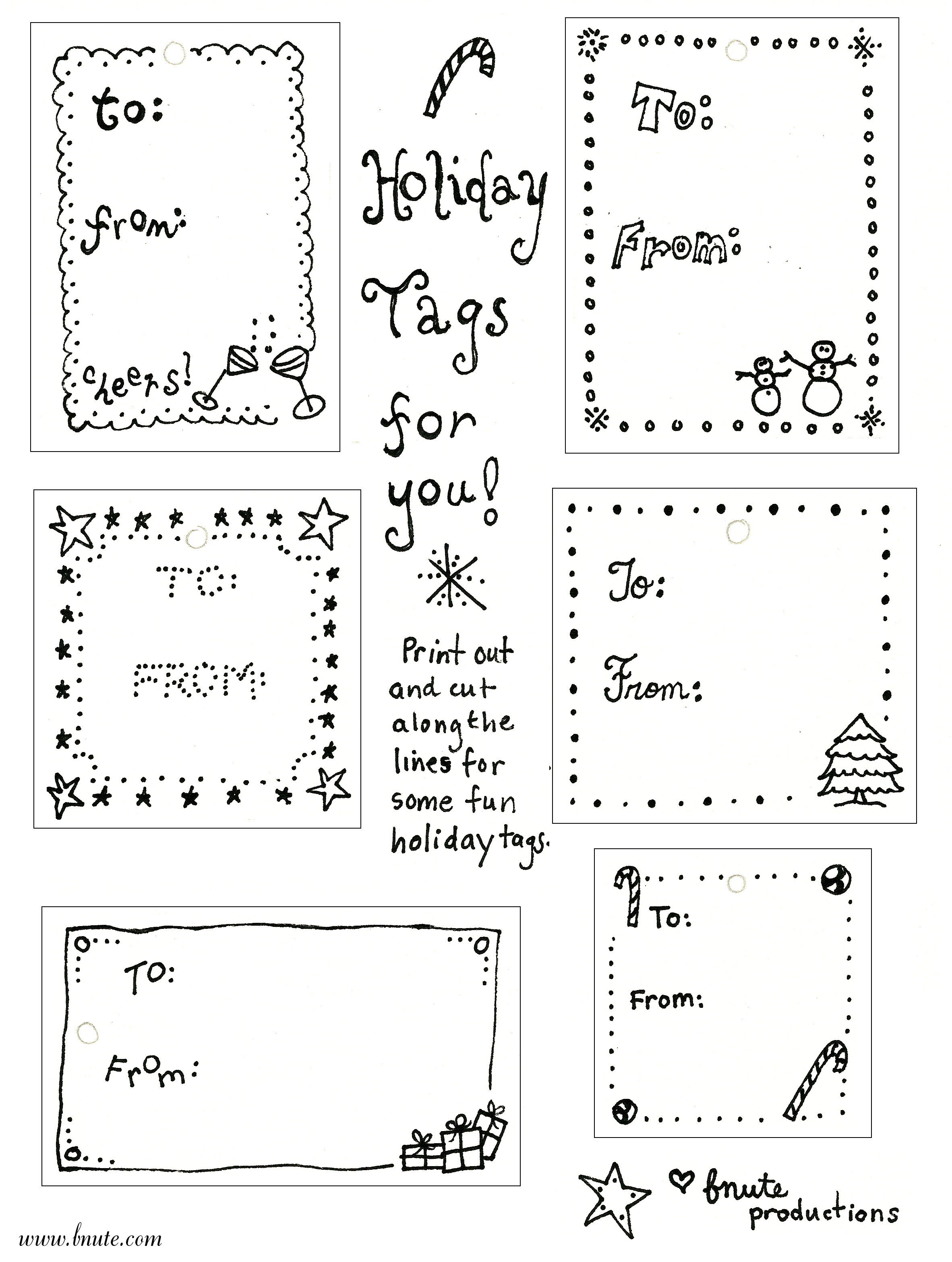 picture about Printable Christmas Tags Black and White called bnute productions: Printable Holiday vacation Tags for that Previous